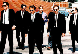 Reservoir Dogs walking in black suits and ties