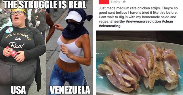 Cringe worthy USA/Venezuela rioters and raw chicken for salad