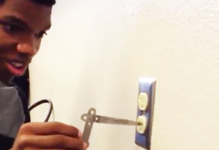 Brilliant Kid Sticks Metal Tool Into Electrical Outlet