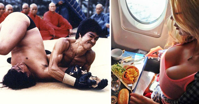 Bruce Lee pinning down an opponent, and hot girl eating food on a plane - sheer awesomeness images