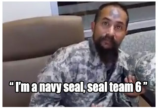 i'm a navy seal says man with face tattoo and army fatigues on