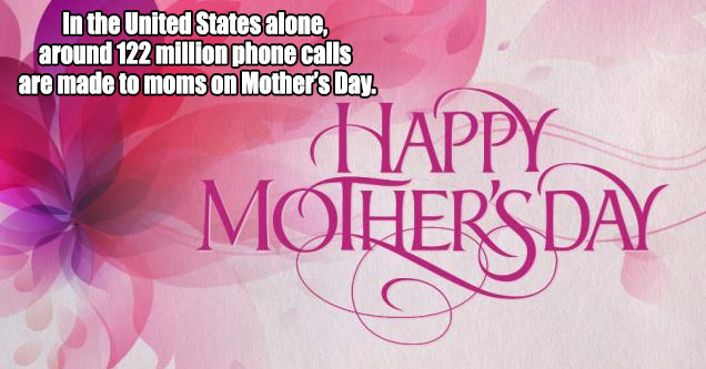 mothers day card with text that says 122 million calls made on mothers day