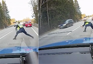 This police officer has lightening fast spike laying abilities!