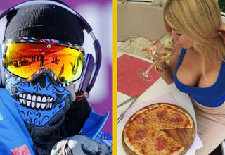 person skiing wearing skull mask and colorful glasses woman eating pizza