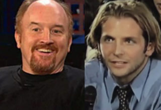 Louis ck smiling next to a young bradley cooper