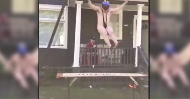 man sitting on porch and half naked man jumps off roof