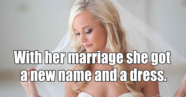 bride with text that says she got a new name and dress - cover for 26 Phrases That Are Basically Dad Jokes