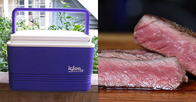 Picture of cooler and perfectly cooked steak - cover image for how to use the two - natural thumb