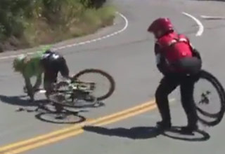 cyclist crashes during race