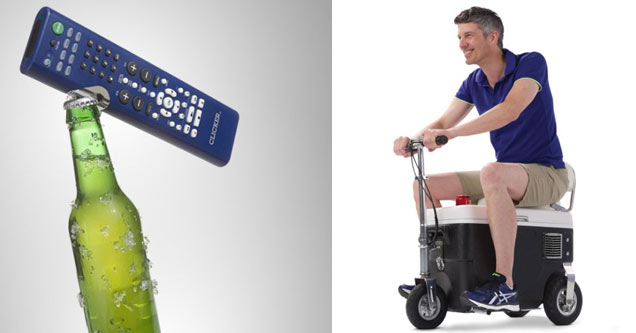 Awesome inventions list - remote controller beer opener and man riding electric cooler scooter
