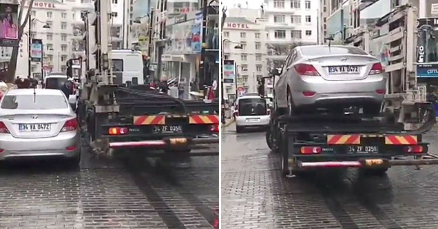 turkish tow truck loads car in 1 minute.