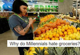 Why do millennials hate groceries - shopping millennial girl in fruit section of supermarket - fixed thumb