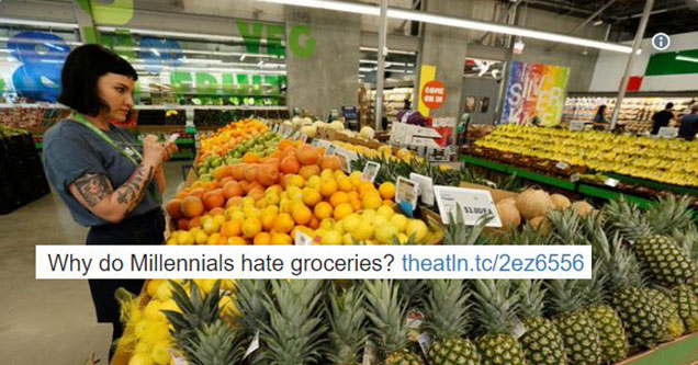Why do millennials hate groceries - shopping millennial girl in fruit section of supermarket - natural thumb
