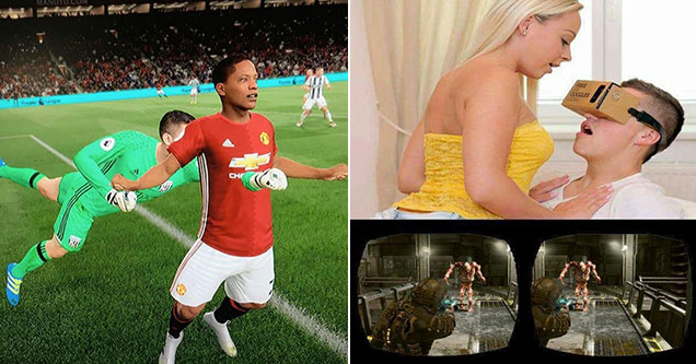 Gamer Memes N' Pics - Punching through a soccer player and guy with VR glasses and blonde girl
