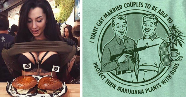 woman flashing hamburgers and tshirt about gays weed and guns