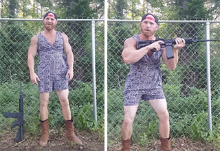 Man wearing a romper and sporting assault rifle