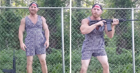 Man wearing a romper and sporting assault rifle - natural thumb