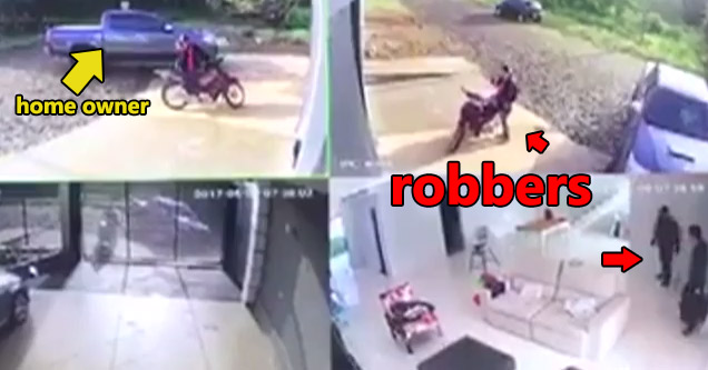security camera footage of home owner catching robbers