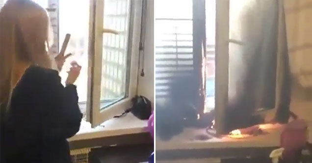 stupid chick lights a flare inside her house