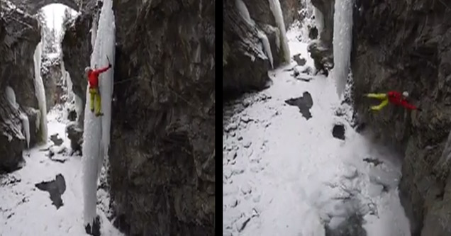 ice climber on giant icicle accidentally breaks it and falls