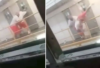 prison fight ends when man is thrown over the railing