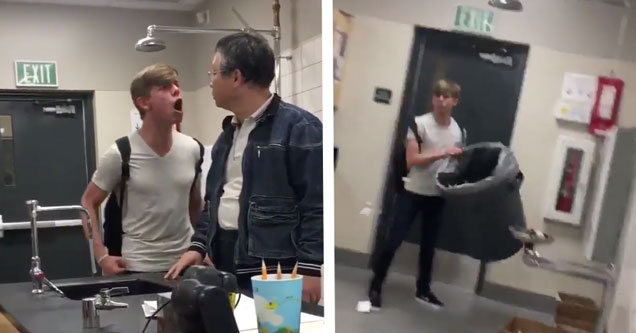 angry student yells and threatens his teacher