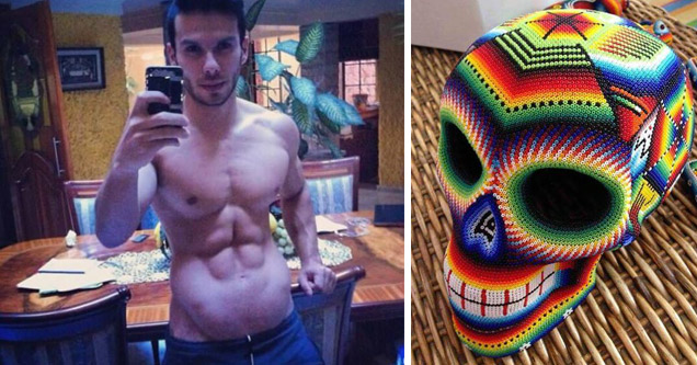 fit man with abnormal stomach and a knitted skull