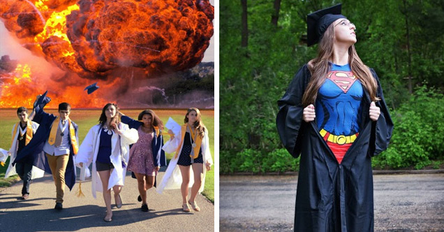 girls walking away from explosion, another in a cap and gown and superman costume