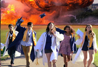 girls walking away from explosion