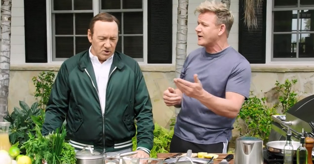 actor kevin spacey in green jacket and chef gordon ramsay