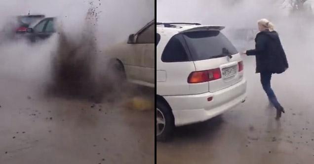 raw sewage spraying all over cars on street