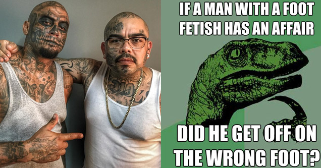 guys covered in tattoo next to  meme of philosoraptor