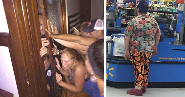 party goers holding door shut keeping out police man in donut shirt and pizza pants