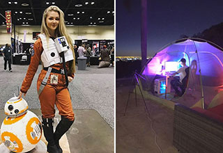 Gaming Pics - girl dressed as Rey and BB-8 and man in tent playing games