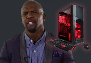 a red glowing gaming computer and a headshot of terry crews
