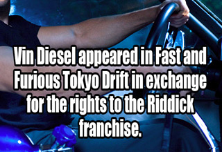 vin deisel driving a car with text about the riddick franchise