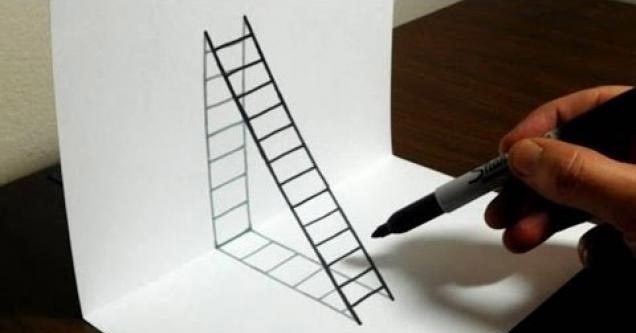 Guy shows you how to draw a 3d ladder on paper