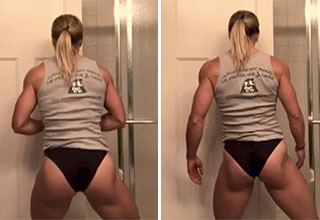 fit mom gets trolled by her son while bathroom flexing