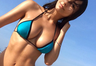 hot babe in blue bikini