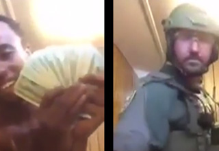 idiot showing off cash and police swat team member
