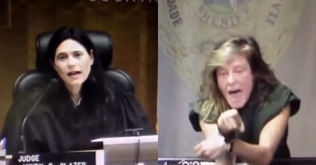 judge in courtroom next to crazy woman screaming