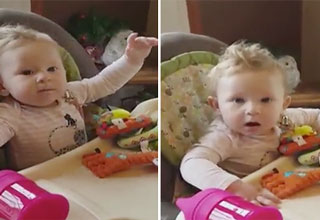 baby gets scared when mom says first word'