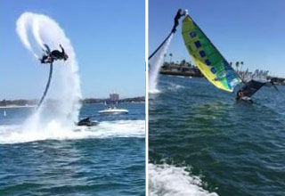 man with jetboard helps flip boat