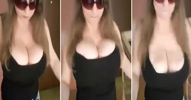busty girl walks around and boobs bounce