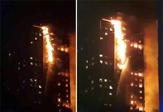 Massive 24 Story Tower Fire In A London Apartment building