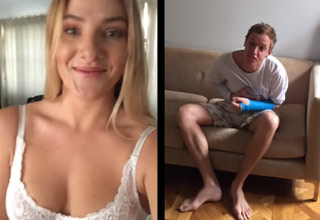 busty blonde girl pranks her boyfriend