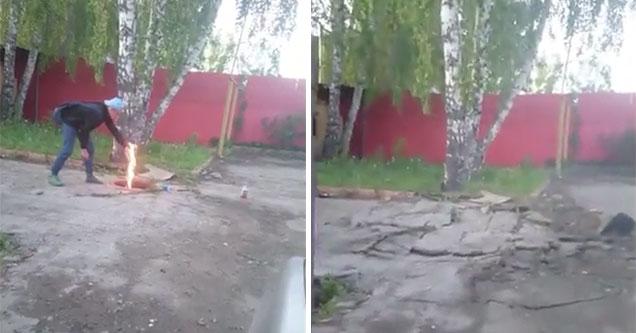 Russian kids light a gas main on fire