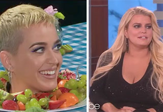 katy perry as a plate of fruit and chubby jessica simpson