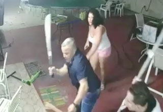 homeowner Leandro Mojena-Peralta wielding a machete against burglars
