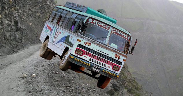 bus jumping off cliff